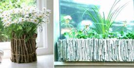Oblékněte obyčejný plastový truhlík nebo květináč do dřevěného kabátu